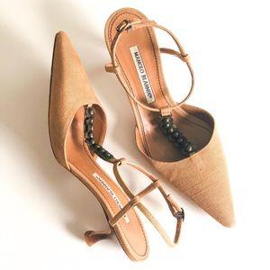 Manolo Blahnik Tan Canvas T-Strap Heels - Size 38